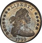 1799 Draped Bust Silver Dollar. Bowers Borckardt-159, Bolender-23. Rarity-3. Stars 8x5. Mint State-6