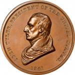 1841 John Tyler Indian Peace Medal. Copper, Bronzed. First Size. Second Reverse. Julian IP-21, Pruch