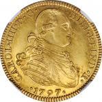 MEXICO. 4 Escudos, 1797-Mo FM. Mexico City Mint. Charles IIII (IV). NGC AU-58.