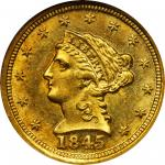 1845-D Liberty Head Quarter Eagle. MS-63 (NGC).