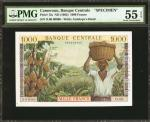 CAMEROON. Banque Centrale. 1000 Francs, ND (1962). P-12s. Specimen. PMG About Uncirculated 55 EPQ.