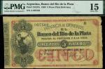 Banco de Rio de la Plata, Argentina, 5 pesos plata boliviana, Gualeguay, 3 October 1868, serial numb