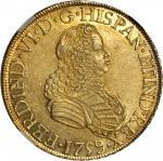 MEXICO. 8 Escudos, 1759-MoMM. Ferdinand VI (1746-59). NGC AU-55.