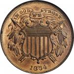 1864 Two-Cent Piece. FS-401. Small Motto. MS-65 RD (NGC).
