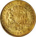 CHILE. 8 Escudos, 1839-So IJ. Santiago Mint. PCGS MS-63 Gold Shield.
