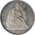 1876-CC Liberty Seated Half Dollar. WB-36. Rarity-3. Misplaced Date, Medium CC. MS-62 (PCGS). OGH.