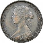 Victoria (1837-1901), Halfpenny, 1862, letter A, laureate and draped bust left, rev. Britannia seate