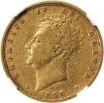 GREAT BRITAIN. Sovereign, 1828. NGC FINE-15.