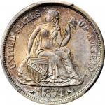 1874-S Liberty Seated Dime. Arrows. Fortin-102. Rarity-4. Small Thin S. MS-66+ (PCGS).