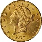 1877-S Liberty Head Double Eagle. MS-62+ (PCGS).
