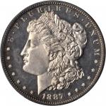 1887 Morgan Silver Dollar. Proof-64 Cameo (PCGS).