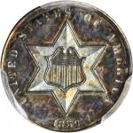 1859 Silver Three-Cent Piece. Proof-65 (PCGS).