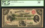 Fr. 191a. 1864 $20 Compound Interest Treasury Note. PCGS Very Fine 30. Repairs, Small Stains.