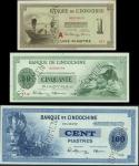 French Indo China, Banque de lIndo-Chine, a set of 3 specimens of the 1945 issue, 1, 50 and 100 pias