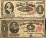 Lot of (2) Fr. 351 1891 $1 Treasury Note and Fr. 219 1886 $1 Silver Certificate. Very Good & Fine.