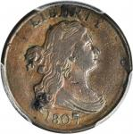 1807 Draped Bust Half Cent. C-1, the only known dies. Rarity-1. EF Details--Cleaned (PCGS).