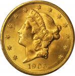 1906-D Liberty Head Double Eagle. MS-64+ (PCGS).