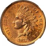 1872 Indian Cent. Bold N. MS-65 RB (NGC). CAC.