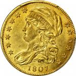 1807 Capped Bust Left Half Eagle. BD-8. Rarity-2. MS-62 (PCGS).