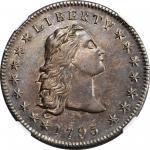 1795 Flowing Hair Silver Dollar. BB-27, B-5. Rarity-1. Three Leaves. AU-55 (NGC).