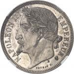 FRANCE Second Empire / Napoléon III (1852-1870). Essai de 5 francs tête laurée par Veyrat 1870, E, P