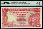 Reserve Bank of New Zealand, £50, ND (1940-67), serial number R199912, red, arms at left, sailing sh