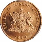 TRINIDAD & TOBAGO. Cent, 1979. Franklin Mint. PCGS SPECIMEN-67 Red Gold Shield.