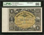 NEW ZEALAND. Bank of New Zealand. 1 Pound, ND (1888-98). P-S202s. Specimen. PMG Gem Uncirculated 66