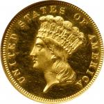 1888 Three-Dollar Gold Piece. JD-1, the only known dies. Rarity-4-. Proof-64 Cameo (NGC).