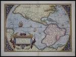 Americae Sive Novi Orbis, Nova Descriptio. First plate, second state. From Abraham Ortelius Theatrum