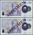 Bank of England, Sarah John, polymer £20, ND (20 February 2020), serial number AA01 000265/266, purp