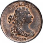 1804 Draped Bust Half Cent. C-13. Rarity-1. Plain 4, Stemless Wreath. MS-64 RB (PCGS). CAC.