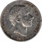 1884年菲律宾20分,马尼拉造币厂。阿方索十二世。PHILIPPINES. 20 Centimos, 1884. Manila Mint. Alfonso XII. PCGS Genuine--Cl