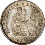 PERU. 1/2 Dinero, 1863-YB. Lima Mint. PCGS MS-67 Gold Shield.