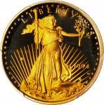 1994-W Quarter-Ounce Gold Eagle. Proof-70 Deep Cameo (PCGS).