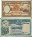 Hong kong & Shanghai Banking Corporation,a lot of $5 and $10, 1 October 1930, serial number F183358,