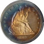 1867 Liberty Seated Quarter. Proof-65 Deep Cameo (PCGS). CAC.
