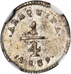 PERU. Arequipa. 1/4 Real, 1839. NGC MS-63.