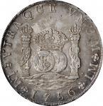 1756/5-L JM年秘鲁壹圆银币。利马造币厂。PERU. 8 Reales, 1756/5-L JM. Lima Mint. PCGS Genuine--Environmental Damage,