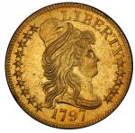 1797 Capped Bust Right Half Eagle. Bass Dannreuther-1. Rarity-7. 15 Stars. Small Eagle. Mint State-6