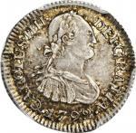 COLOMBIA. 1792-JJ 1/2 Real. Santa Fe de Nuevo Reino (Bogotá) mint. Carlos IV (1788-1808). Restrepo 7