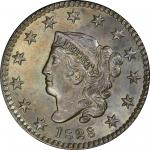 1828 Matron Head Cent. Newcomb-10. Rarity-1. Small Wide Date. MS-64 BN (PCGS). CAC.
