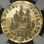 "NETHERLANDS West Friesland ウェストフリースラント 6Stuivers in Gold 1734 NGC-UNC Details ""Mount Removed"" マウントを外"