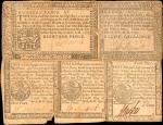 Lot of (5) Mixed Pennsylvania Colonial Notes. Very Good to Very Fine.