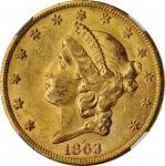 1863-S Liberty Head Double Eagle. AU-58 (NGC). CAC.