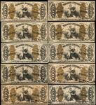 Lot of (10). Fr. 1343, 1345, 1346, 1347, 1349, 1350, 1355 & 1356. 50 Cents. Third Issue. Extremely F