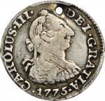 COLOMBIA. 1775-JJ 1/2 Real. Santa Fe de Nuevo Reino (Bogotá) mint. Carlos III (1759-1788). Restrepo