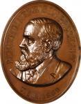 1889 Benjamin Harrison Indian Peace Medal. Oval. Julian IP-47, Prucha-58. Bronzed Copper. MS-65 BN (