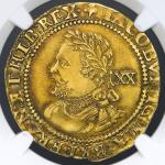 GREAT BRITAIN James I ジェームス1世(1603~25) Laurel ND(1624) NGC-XF DetailsEdge Filing  縁に小さな削りあり VF