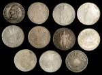 MIXED LOTS. Group of 8 Reales (11 Pieces), 1828-62. Grade Range: FINE to EXTREMELY FINE.